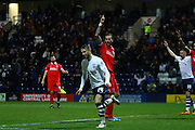Preston North End Striker Joe Garner celebrates but the goal is disallowed during the Sky Bet Championship match between Preston North End and Charlton Athletic at Deepdale, Preston, England on 23 February 2016. Photo by Pete Burns.