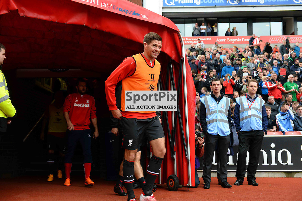 Liverpool captain Steven Gerrard walks on to the field at the Britainnia Staduim to warm up to play his last match before moving to Los Angeles