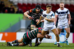 Callum Sheedy of Bristol Bears is tackled by by Tom Youngs of Leicester Tigers - Mandatory by-line: Robbie Stephenson/JMP - 04/01/2020 - RUGBY - Welford Road - Leicester, England - Leicester Tigers v Bristol Bears - Gallagher Premiership Rugby