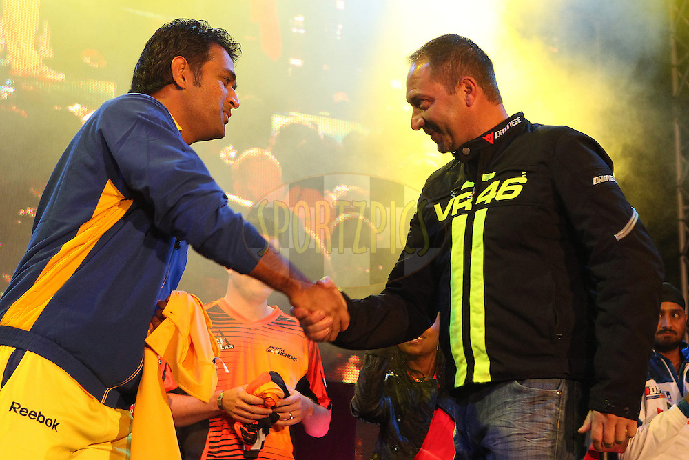 MS Dhoni and Sasha Martinengo during the opening celebration for the Karbonn Smart CLT20 South Africa held at Melrose Arch in Johannesburg, South Africa on the 12th October 2012..Photo by Ron Gaunt/SPORTZPICS/CLT20