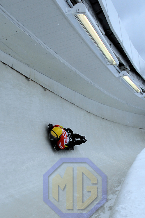 14 December 2007:  Courtney Yamada of the United States competes at the FIBT World Cup Women's skeleton competition on December 14, 2007 at the Olympic Sports Complex in Lake Placid, NY.  The race was won by Katie Uhlaender of the United States with a time of 1:52.60.