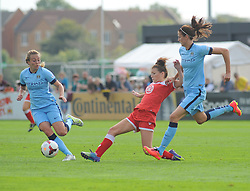 Bristol Academy Womens' Angharad James makes a tackle. - Photo mandatory by-line: Nizaam Jones- Mobile: 07583 387221 - 28/09/2014 - SPORT - Women's Football - Bristol - SGS Wise Campus - BAWFC v Man City Ladies - sport