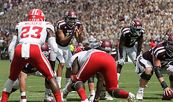 Texas A&M quarterback Kellen Mond (11) calls a play from shot gun against Louisiana-Lafayette during the first quarter of an NCAA college football game Saturday, Sept. 16, 2017, in College Station, Texas. (AP Photo/Sam Craft)