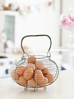 Basket of Brown Eggs on Countertop