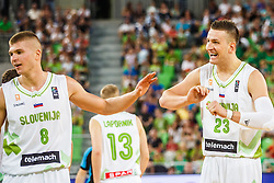 Edo Muric and Alen Omic of Slovenia during qualifying match between Slovenia and Bulgaria for European basketball championship 2017, Arena Stozice, Ljubljana on 14th of September 2016, Slovenia. Photo by Grega Valancic / Sportida