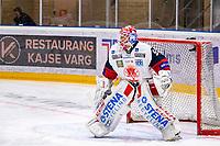 2019-10-15   Umeå, Sweden:Västervik goalkeeper (90) Samuel Ward warming up before HockeyAllsvenskan between Björklöven and Västervik at A3 Arena ( Photo by: Michael Lundström   Swe Press Photo )<br /> <br /> Keywords: Umeå, Hockey, HockeyAllsvenskan, A3 Arena, Björklöven, Västervik, mlbv191015