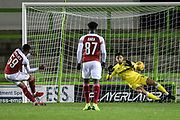 Arsenal's Joe Willock(59) takes a penalty and scores a goal 0-2 during the EFL Trophy group stage match between Forest Green Rovers and U21 Arsenal at the New Lawn, Forest Green, United Kingdom on 7 November 2018.