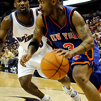 10 March 2007:   New York Knicks guard Stephon Marbury (3) drives to the basket in the first half against Washington Wizards guard Gilbert Arenas (0) at the Verizon Center in Washington, D.C.  The Knicks defeated the Wizards 90-89.