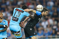 April 19, 2018 - Brugge, BELGIUM - Charleroi's Christophe Diandy and Club's Benoit Poulain fight for the ball during the Jupiler Pro League match between Club Brugge and Sporting Charleroi, in Brugge, Thursday 19 April 2018, on day four of the Play-Off 1 of the Belgian soccer championship. BELGA PHOTO BRUNO FAHY (Credit Image: © Bruno Fahy/Belga via ZUMA Press)