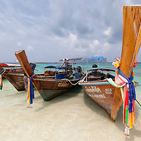 Long-tail boats on Long Beach in Koh Phi Phi Leh.
