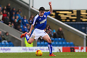Chesterfield FC midfielder Connor Dimaio puts in a midfield pass during the Sky Bet League 1 match between Chesterfield and Crewe Alexandra at the Proact stadium, Chesterfield, England on 20 February 2016. Photo by Aaron Lupton.
