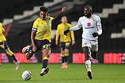 Coventry City defender Morgan Williams (37)  takes a shot at goal during the EFL Trophy match between Milton Keynes Dons and Coventry City at Stadium:MK, Milton Keynes, England on 3 December 2019.