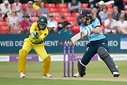 Natalie Sciver on her way to 50 during the Royal London Women's One Day International match between England Women Cricket and Australia at the Fischer County Ground, Grace Road, Leicester, United Kingdom on 2 July 2019.