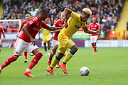 AFC Wimbledon striker Lyle Taylor (33) dribbling during the EFL Sky Bet League 1 match between Charlton Athletic and AFC Wimbledon at The Valley, London, England on 28 October 2017. Photo by Matthew Redman.