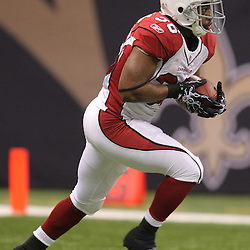 16 January 2010:  Arizona Cardinals running back LaRod Stephens-Howling (36) returns a kickoff during a 45-14 win by the New Orleans Saints over the Arizona Cardinals in a 2010 NFC Divisional Playoff game at the Louisiana Superdome in New Orleans, Louisiana.