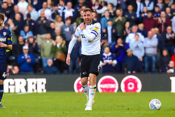 Richard Keogh of Derby County holds his shoulder after a knock - Mandatory by-line: Ryan Crockett/JMP - 11/05/2019 - FOOTBALL - Pride Park Stadium - Derby, England - Derby County v Leeds United - Sky Bet Championship Play-off Semi Final 1st Leg