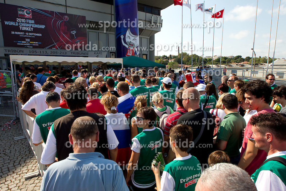 Fans of Slovenia prior to the Preliminary Round - Group B basketball match between National teams of Slovenia and Croatia at 2010 FIBA World Championships on August 30, 2010 at Abdi Ipekci Arena in Istanbul, Turkey.  (Photo by Vid Ponikvar / Sportida)