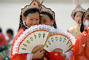 Chinese traditional dancers in Shanghai, China