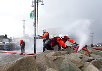 03/01/2014. Firemen try to pump water from Leisureland  over The prom in Salthill Galway  Photo:Andrew Downes.