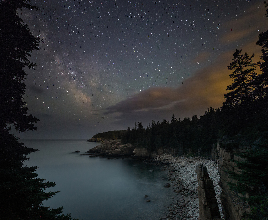 Milky Way over Monument Cove in Acadia National Park.