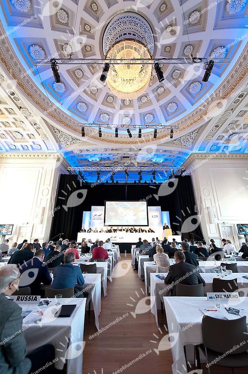 Bureau Table<br /> LEN 50 th Congress<br /> Ligue Europeenne de Natation<br /> European Swimming Federation<br /> Edinburgh, Scotland GBR<br /> Sept. 28 2013<br /> Photo Giorgio Scala/Deepbluemedia.eu