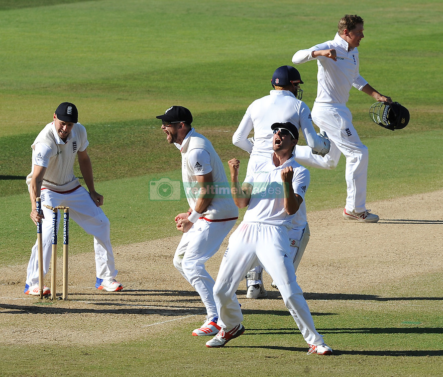England captain Alastair Cook (right) celebrates after Moeen Ali caught and bowled Pakistan's Sohail Khan and England beat Pakistan by 141 runs during day five of the 3rd Investec Test Match at Edgbaston, Birmingham.