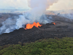 Handout photo taken on May 22, 2018 of Kilauea Volcano — Lava Fountains (Fissure 22). The fissure complex remains active in KÄ«lauea Volcano's lower East Rift Zone. At times, fountaining at Fissure 22 reached a height of about 50 m (about 160 ft). Photo by usgs via ABACAPRESS.COM