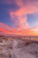 A fiery sky over West Dennis Beach and Nantucket Sound.