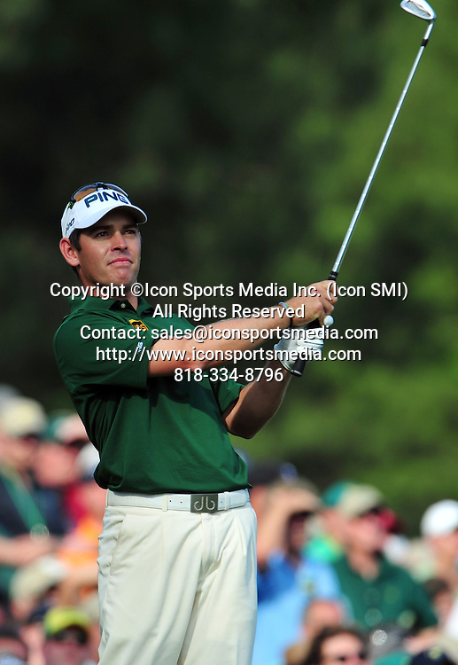 April 8, 2012 - Augusta, Georgia, U.S. - Louis Oosthuizen tees off on the 12th hole during Sunday's final round of the 2012 Masters Tournament at Augusta National Golf Club on April 8, 2012, in Augusta, Ga. (Emily Rose Bennett / Staff