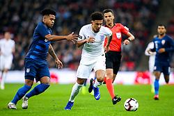 Jadon Sancho of England takes on Weston McKennie of USA - Mandatory by-line: Robbie Stephenson/JMP - 15/11/2018 - FOOTBALL - Wembley Stadium - London, England - England v United States of America - International Friendly