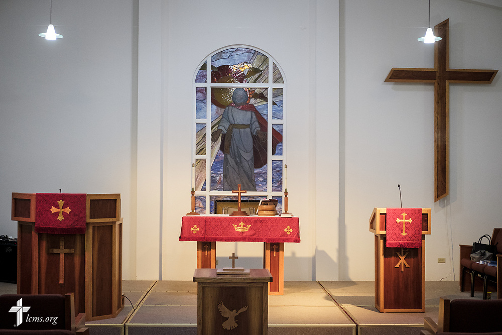 The altar of Iglesia Luterana Principe de Paz (Prince of Peace Lutheran Church), Mayagüez, Puerto Rico, on Sunday, April 15, 2018. LCMS Communications/Erik M. Lunsford