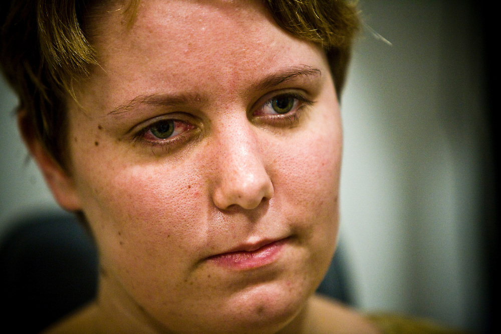 Alisha Bacoccini waits for her next test at the UPenn Hospital, in Philadelphia, PA on Monday, June 23, 2008. Bacoccini is undergoing an experimental gene therapy trial to improve her sight.