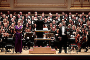 "Soprano Emalie Savoy (L) and Baritone Sidney Outlaw  of the Oratorio Society of NY perform Mendelssohn's ""Elijah"" at Carnegie Hall  on April 27, 2011 in New York. photo by Joe Kohen for The New York Times.."