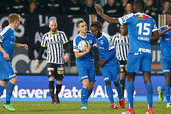 April 13, 2018 - Charleroi, BELGIUM - Charleroi's Mamadou Fall celebrates after scoring during the Jupiler Pro League match between Sporting Charleroi and KRC Genk, in Charleroi, Friday 13 April 2018, on day three of the Play-Off 1 of the Belgian soccer championship. BELGA PHOTO BRUNO FAHY (Credit Image: © Bruno Fahy/Belga via ZUMA Press)