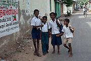 Children on their way to school in Nagore. South India.