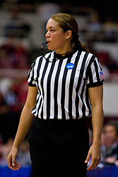 March 20, 2010; Stanford, CA, USA; NCAA referee Brenda Pantoja during the second half of the game between the Iowa Hawkeyes and the Rutgers Scarlet Knights in the first round of the 2010 NCAA womens basketball tournament at Maples Pavilion.  Iowa defeated Rutgers 70-63.