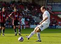 Photo: Leigh Quinnell.<br /> Bournemouth v Swansea City. Coca Cola League 1. 14/10/2007. Warren Feeney slots home a penalty for Swansea.