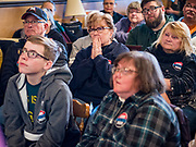 01 JANUARY 2020 - CRESTON, IOWA: People listen to US Senator Cory Booker during a campaign event in Creston, IA. Sen Booker was describing a drive by shooting he witnessed in Newark. Sen. Booker is campaigning in Iowa to support his candidacy for the US Presidency. Iowa traditionally holds the first event of the presidential election cycle. The Iowa caucuses are Feb. 3, 2020.       PHOTO BY JACK KURTZ