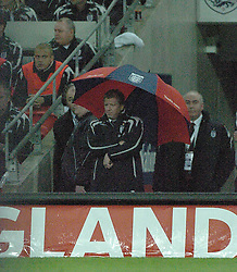 STEVE McCLAREN, England Manager, watches from under his Brolly, England - Croatia, Wembley Stadium, UEFA Euro 2008 Qualifier 21/11/2007