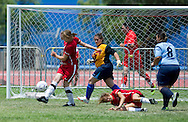 Female's football match 7-a-side between SO Poland and SO Greece during 2011 Special Olympics World Summer Games Athens on June 26, 2011..The idea of Special Olympics is that, with appropriate motivation and guidance, each person with intellectual disabilities can train, enjoy and benefit from participation in individual and team competitions...Greece, Athens, June 26, 2011...Picture also available in RAW (NEF) or TIFF format on special request...For editorial use only. Any commercial or promotional use requires permission...Mandatory credit: Photo by © Adam Nurkiewicz / Mediasport