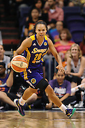Sep 21, 2013; Phoenix, AZ, USA; Los Angeles Sparks guard Kristi Toliver (20) dribbles the ball up the court against the Phoenix Mercury at US Airways Center. The Sparks defeated the Mercury 82-73.  Mandatory Credit: Jennifer Stewart-USA TODAY Sports