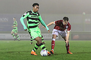 Forest Green Rovers Tahvon Campbell(25) on the ball during the Gloucestershire Senior Cup match between Forest Green Rovers and U23 Bristol City at the New Lawn, Forest Green, United Kingdom on 9 April 2018. Picture by Shane Healey.