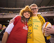 Lions or Wallaby supporters? In their house, they can't decide. Second test between the DHL Australian Wallabies vs HSBC British And Irish Lions at Etihad Stadium, Melbourne, Victoria, Australia. 29/06/0213. Photo By Lucas Wroe