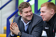 MK Dons manager Karl Robinson and Bolton Wanderers First Team Manager Neil Lennon during the Sky Bet Championship match between Bolton Wanderers and Milton Keynes Dons at the Macron Stadium, Bolton, England on 23 January 2016. Photo by Simon Davies.