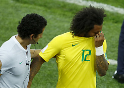 June 27, 2018 - Moscow, Russia - Group E Serbia v Brazil - FIFA World Cup Russia 2018.Marcelo (Brazil) gets off injured at Spartak Stadium in Moscow, Russia on June 27, 2018. (Credit Image: © Matteo Ciambelli/NurPhoto via ZUMA Press)