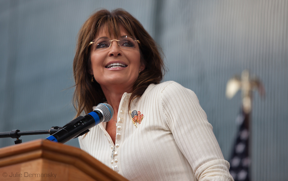 Former Alaskan Governor Sarah Palin, the key note speaker at the Take Back America Tea Party Rally in Indianola Iowa on September 3, 2011, addresses a crowd of about 2000 people.