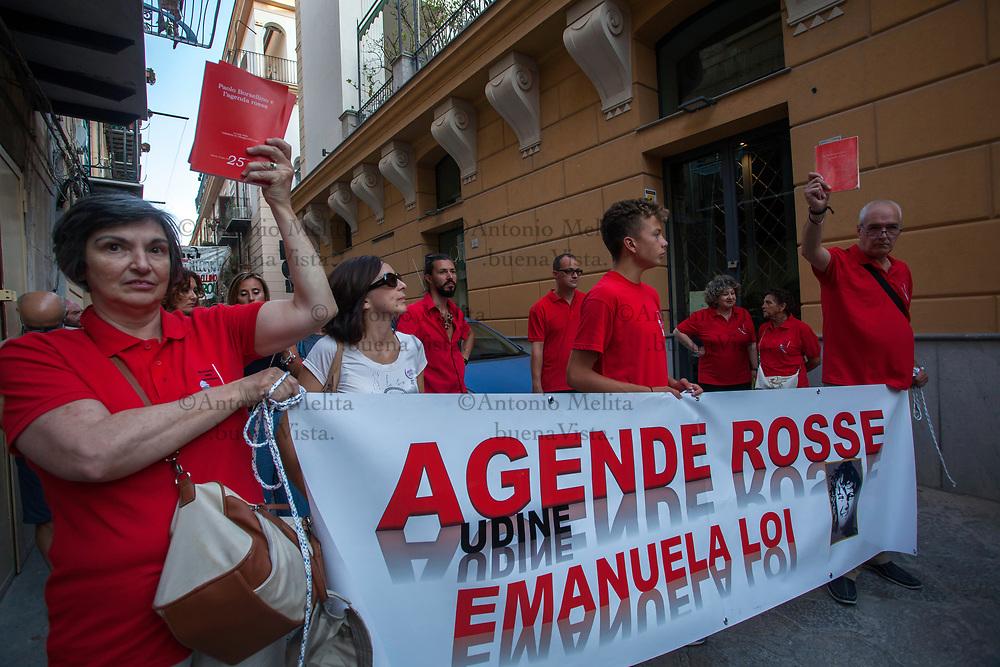 Il corteo delle Agende Rosse in ricordo del magistrato antimafia Paolo Borsellino ucciso 25 anni fa' nella strage di Via D'Amelio.