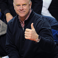 16 February 2013:   Former Maryland Terrapins quarterback Boomer Esiason attends the game at the Comcast Center in College Park, MD. where the Maryland Terrapins defeated the Duke Blue Devils, 83-81.