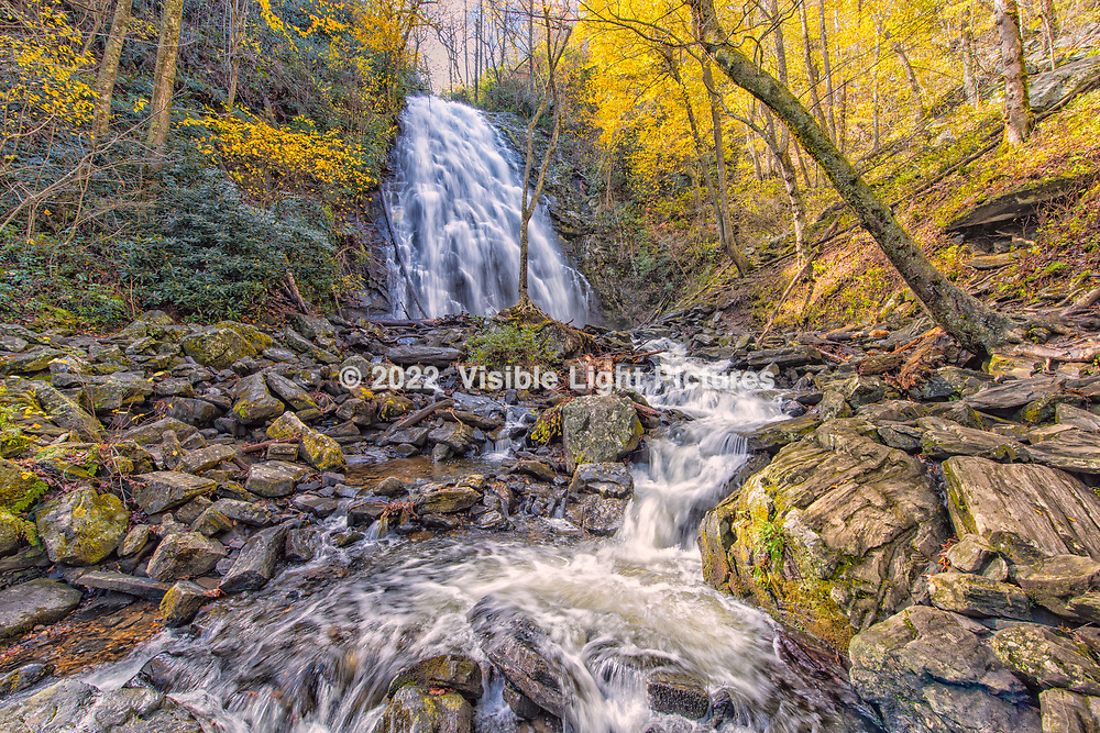 Crabtree Falls off of the Blue Ridge Parkway, about a two-mile hike in to the woods.