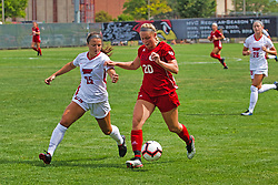 NORMAL, IL - August 10:  Megan McEachern & Courtney Benning during a nonconference exhibition women's soccer match between the Southern Illinois Edwardsville Cougars and the Illinois State Redbirds August 10 2019 on Adelaide Street Field in Normal IL (Photo by Alan Look)